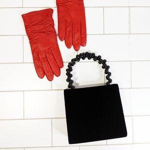 Vintage Tiny Velvet Beaded Handle Bag